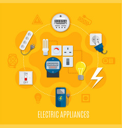 Electric appliances round design vector