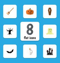 Flat icon halloween set of spirit cranium vector