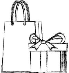 shopping gift box paper bag market commerce vector image