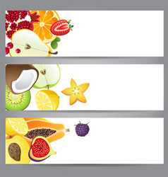 3 bright fruit banners for your designs vector image