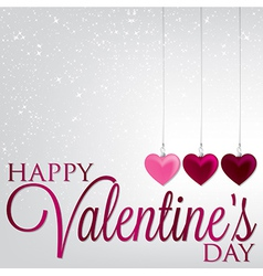Hanging ornaments valentines day card in format vector