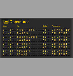 airport departures board vector image