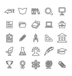 25 outline universal education icons vector