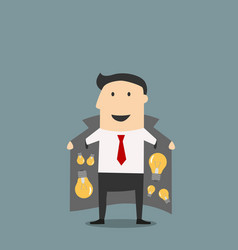 Innovative businessman in jacket selling ideas vector