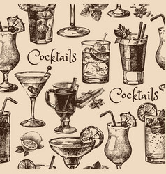 Hand drawn sketch seamless pattern of alcoholic vector