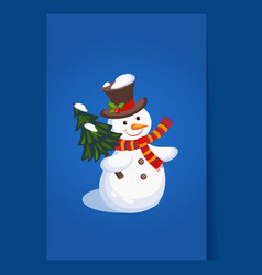 Cheerful snowman holding a christmas tree holiday vector
