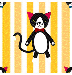 Black cat with ribbon full body on yellow line vector