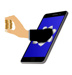 Hole on the screen and hand with coins vector