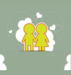 Couple love on retro background vector