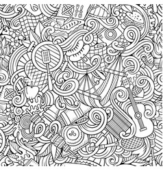 Cartoon hand-drawn picnic doodles seamless pattern vector
