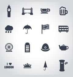 black london icon set vector image