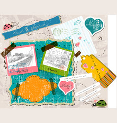 Scrapbooking set with stamps and photo frames vector