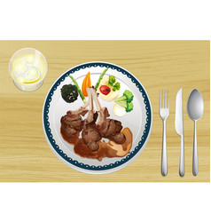 A meat and salad in one dish vector