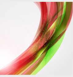 abstract red and green wave background for poster vector image vector image