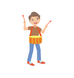 Boy playings in brown t-shirt drums vector