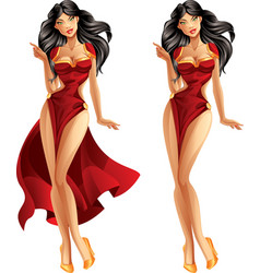 brunette presenting vector image