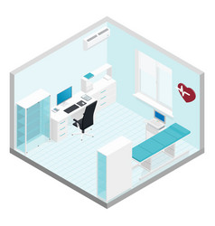 Cabinet cardiologist isometric room set vector