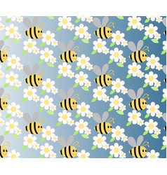 Chamomile and honey bee flowers vector