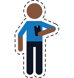 Character holding smartphone technology dot line vector