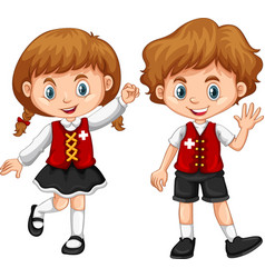 children wearing clothes with switzerland flag vector image vector image