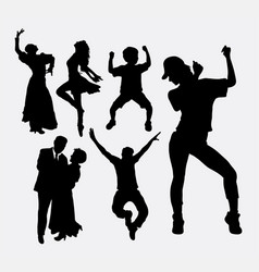Dancer male and female pose silhouette vector image vector image
