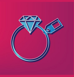 Diamond sign with tag blue 3d printed vector
