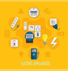 electric appliances round design vector image