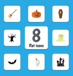 Flat icon halloween set of spirit cranium vector