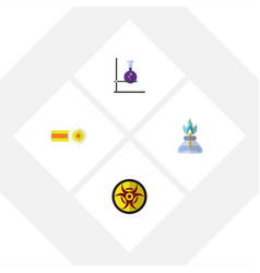 flat icon science set of flame danger chemical vector image vector image