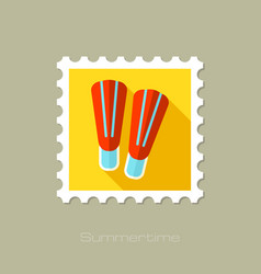 Flippers flat stamp with long shadow vector