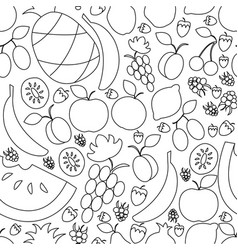 fruit hand drawn semless pattern in flat vector image