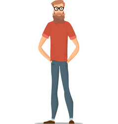 funny bearded hipster isolated on white character vector image