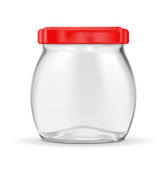 glass jar with red lug cap vector image