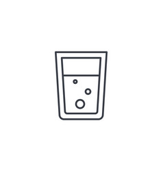 Glass of water thin line icon linear vector