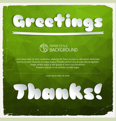 Greeting and thanks signature vector