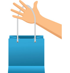 hand holding shopping bag paper image vector image