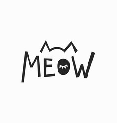 Meow t-shirt quote lettering vector