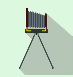 Old photo camera with tripod icon flat style vector