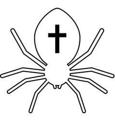outline black spider with cross vector image vector image