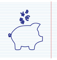 Piggy bank sign with the currencies navy vector