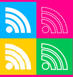 rss sign four styles of icon on four vector image