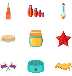 Russia elements icons set cartoon style vector