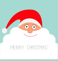 Santa Claus face with big beard Merry Christmas vector image vector image
