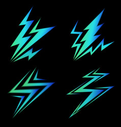 set of blue signs of electricity vector image