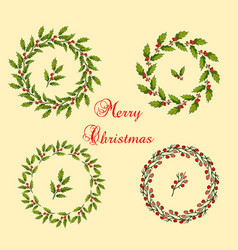 set of christmas holly wreath vector image vector image