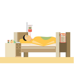 Sick man is in bed flat vector