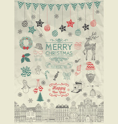 Sketched Christmas Doodle Icons on Crumpled Paper vector image vector image