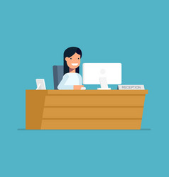 Smiling secretary sitting at a computer in the vector image vector image