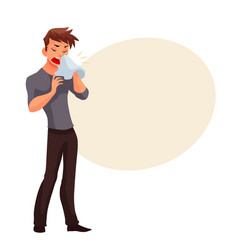 Sneezing young man blowing his nose vector image