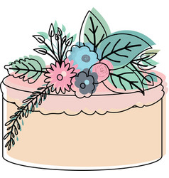 watercolor silhouette of hand drawing cake with vector image vector image